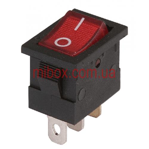 Переключатель клавишный №1-101N-2 3pin с подсветкой ON-OFF 6A красный