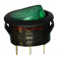 Переключатель клавишный №1-101N-9 овальный с подсветкой ON-OFF 3pin зеленый