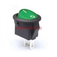 Переключатель клавишный №1-108-G ON-OFF круглый 2pin зеленый