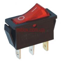 Переключатель клавишный №3-101N-5 с подсветкой 3pin красный