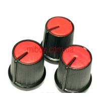Ручка для переменного резистора R-02 красная (D=15мм H=15мм), с указателем