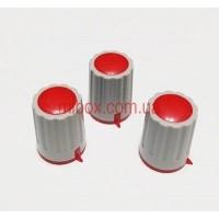 Ручка для переменного резистора R-04 серая/красная (D=15мм H=21мм), с указателем