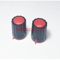 Ручка для переменного резистора R-04 черная/красная (D=15мм H=21мм), с указателем
