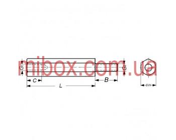 Стойка металлическая гайка/винт М2,5х10+4