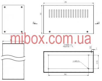 Корпус металлический MB-10 (Ш90 Г210 В120) черный, RAL9005(Black textured)