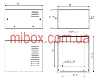 Корпус металлический MB-2 (Ш150 Г180 В90) металик, RAL9006(Metallic textured)
