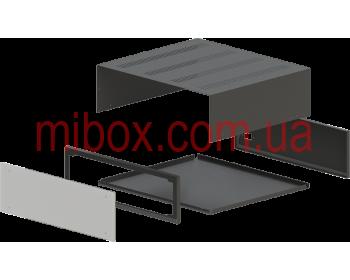 Корпус металлический с алюминиевой панелью MB-26 (Ш430 Г385 В132) черный, RAL9005(Black textured)