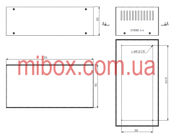 Корпус металлический MB-9 (Ш304 Г150 В100) черный, RAL9005(Black textured)